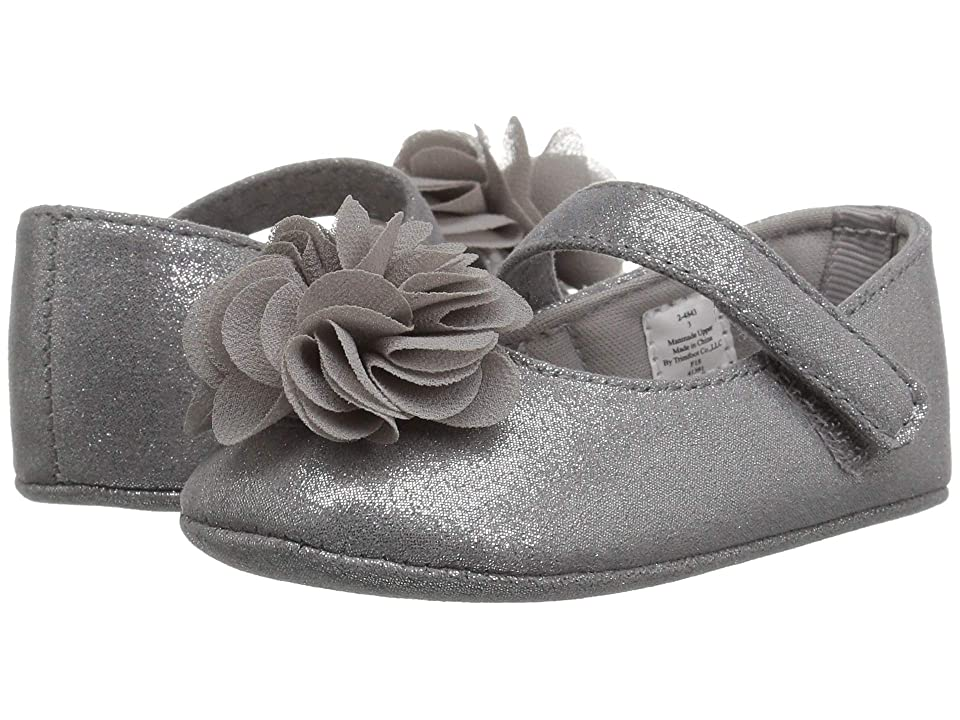 Baby Deer Soft Sole Shimmer Mary Jane with Flower (Infant) (Silver) Girl