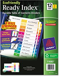 Avery EcoFriendly Ready Index Table of Contents Dividers, 12-Tab, 3 Sets (11083)