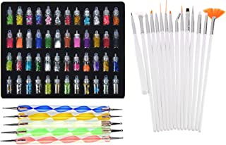 Lifestyle-You™ Combined of Exciting Nail Art Tools(68 Pcs) – 48 Bottles 3D Nail Art + 15 Pcs Nail Art Brush + 5 Pcs Double Sided Nail Dotting Tool Pen. Great Gift for Girl, Women, Females.