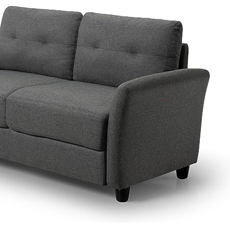 ZINUS Ricardo Loveseat Sofa / Tufted Cushions / Easy, Tool-Free Assembly, Dark Grey