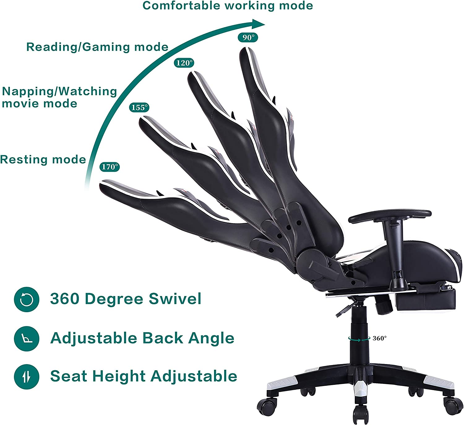 3BLUE Footrest Gaming Chair Racing Chair Office Computer Chair High Back Ergonomic Swivel with Headrest and Lumbar Support