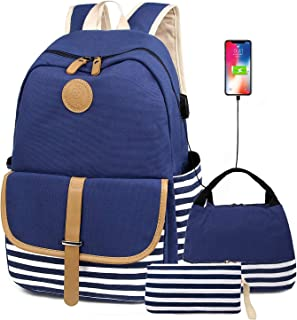 FLYMEI Canvas Backpack for Teens, 3 in 1 School Back Pack with Lunchbox for school, Lightweight Travel Daypack Casual Travel Bags with USB Charging Port-Blue Backpack
