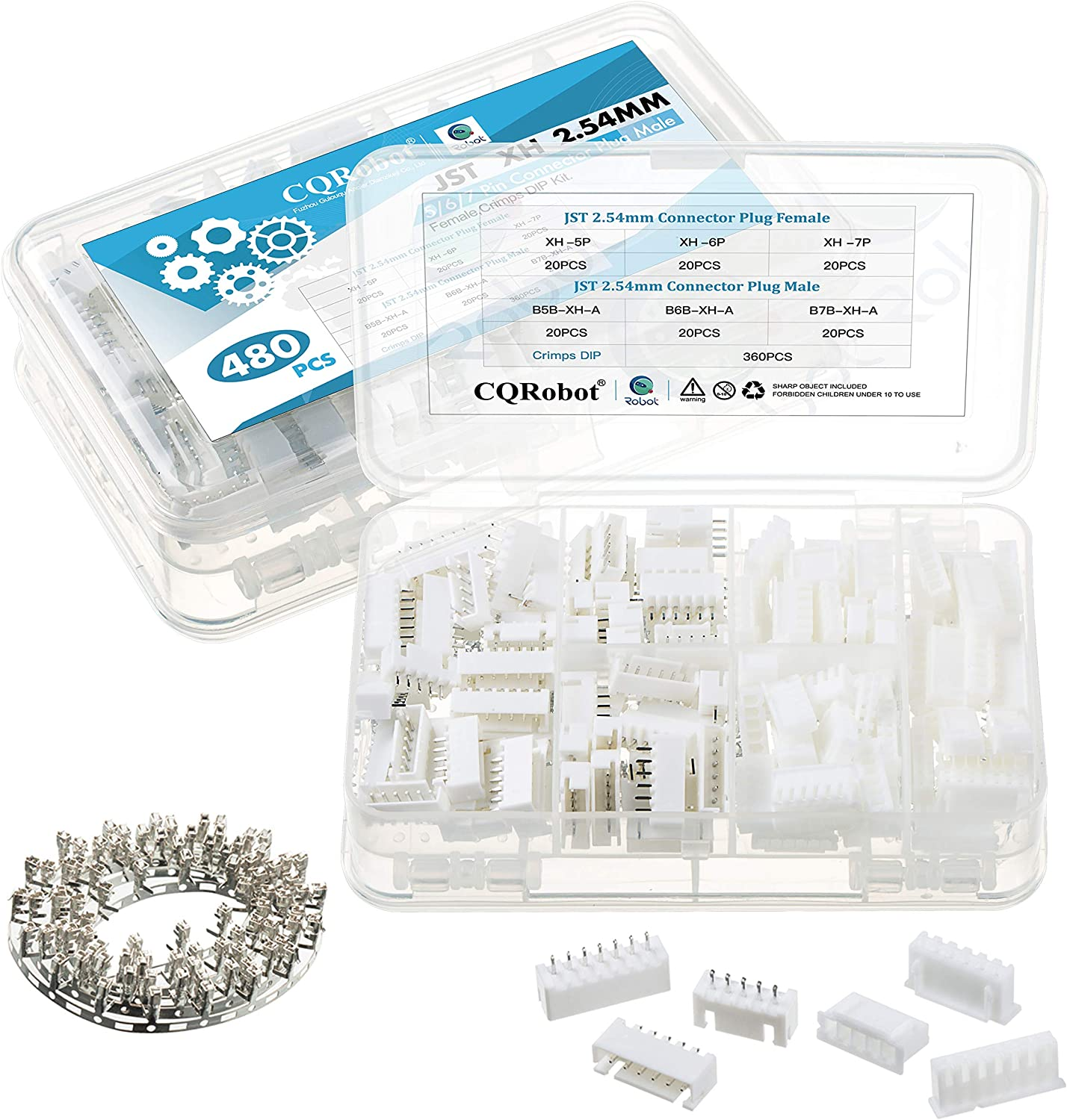 5//6//7 Pin Housing JST Adapter Cable Connector Socket Male and Female 2.0mm Pitch Female Pin Header Crimp Dip Kit. CQRobot 480 Pieces 2.0mm JST-PA-SMT JST Connector Kit JST PA SMT