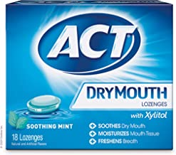 ACT Dry Mouth Lozenges With Xylitol 18 Count (Pack of 6) Soothing Mint
