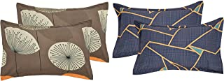 "RRC Cotton Pillow Cover Set of 4-18"" x 27"", Set of 4 Cotton Pillow Covers (Grey and Blue)"