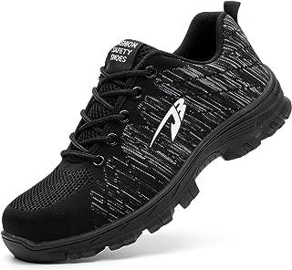 Wasnton Mujer Hombre Zapatillas de Seguridad Deportivos con Puntera de Acero Zapatos de Trabajo Entrenador Unisex Zapatillas de