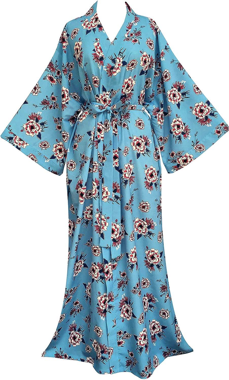 Women's Kimono Floral Long Robe Ankle Length Robe Plus size 2X 3X, Summer Robe