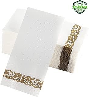 QUALBAY Linen Feel Guest Towels, Paper Napkins, Dinner Napkins   Disposable Paper Hand Towels, Soft Absorbent Paper Hand Napkins For Wedding, Kitchen, Bathroom, Cocktail   Gold Party Napkins 100 ct