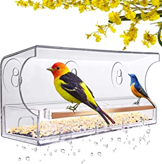 LUJII Window Bird Feeder with 5 Strong Suction Cups, Anti-Shock Anti-Pressure Very Strong, Bird Feeders for Outside, Round...