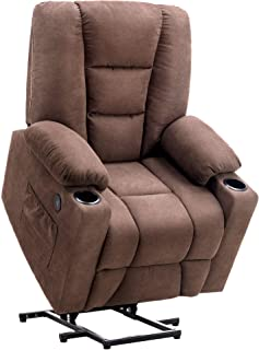 Mcombo Electric Power Lift Recliner Chair Sofa with Vibration Massage and Heat for Elderly, 3 Positions, 2 Side Pockets and Cup Holders, USB Charge Ports 7509 (Brown (Fabric))