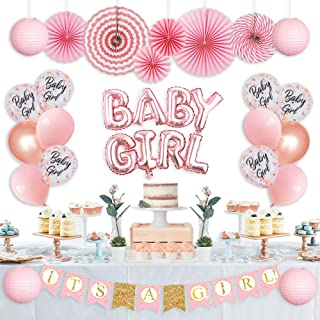 Baby Shower Decorations for Girl, Its A Girl Baby Shower Decorations, Gender Reveal, It's A Girl Letter Banner, Foil Letter Baby Girl Balloons Paper Lanterns Paper Fans I Baby Girl Decorations Set by MR. TARO