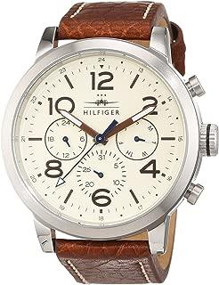 1791230 - Reloj análogico de cuarzo con correa de cuero para hombre, color marrón/blanco Roto