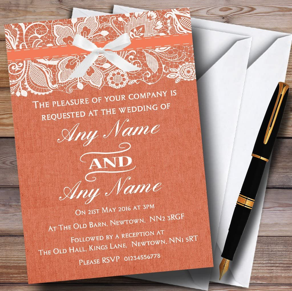Vintage Coral ギフ_包装 開催中 Burlap Lace Wedding Invitations Personalized