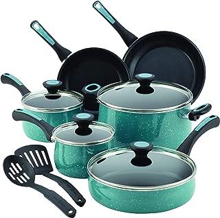 Paula Deen 16981 Riverbend Nonstick Cookware Pots and Pans Set, 12 Piece, Gulf Blue Speckle