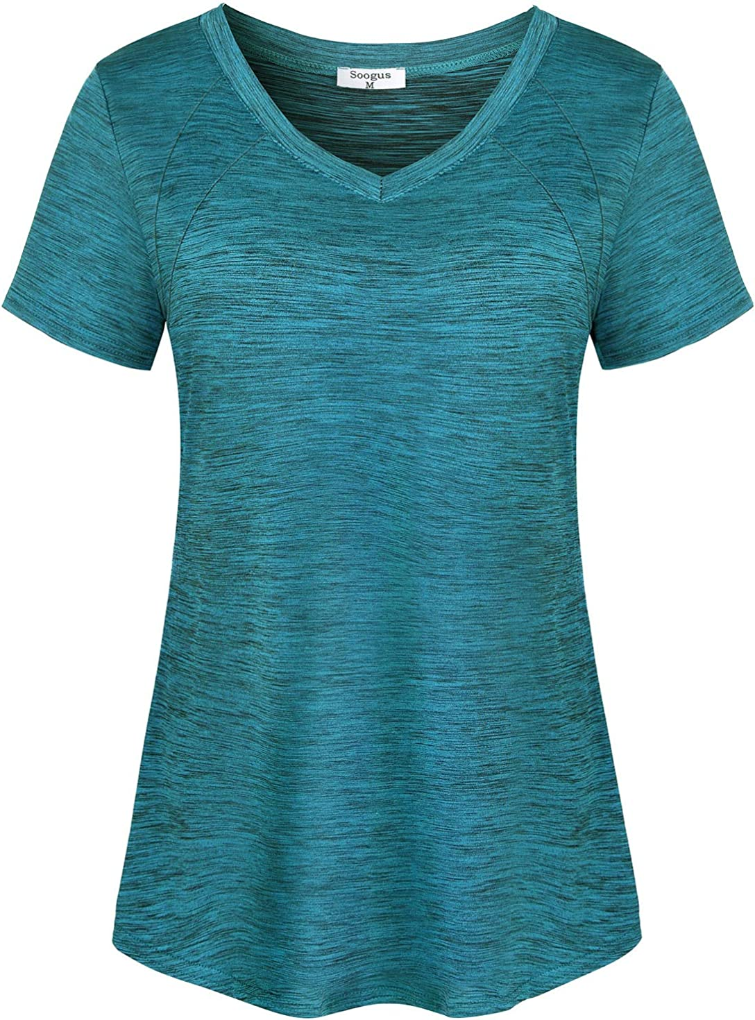 Soogus Women's Yoga Tops V Neck Workout Active Wear Athletic Shirts