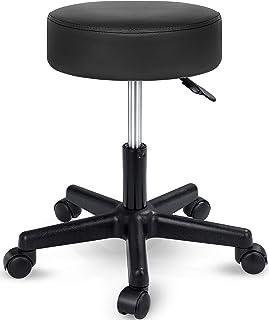 TRESKO Tabouret de Travail Tabouret à roulettes siège pivotant par 360 degrés, Rembourrage de 10 cm, de 8 Couleurs différe...