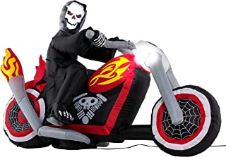 Halloween Haunters 6 Foot Inflatable Skeleton Reaper Riding a Motorcycle Yard Prop Decoration with LED Light-Up Headlight - Flaming Chopper Spider Web Wheels, Indoor Outdoor Lawn Blow Up Party Display