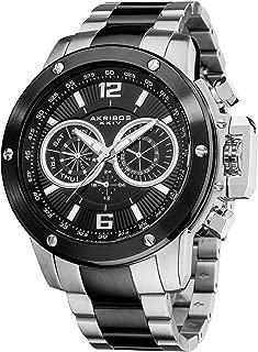 Akribos XXIV Men's 'Conqueror' Multifunction Swiss Quartz Watch - 3 Large Chronograph Subdials On Heavy Black Stainless Steel Bracelet - AK604