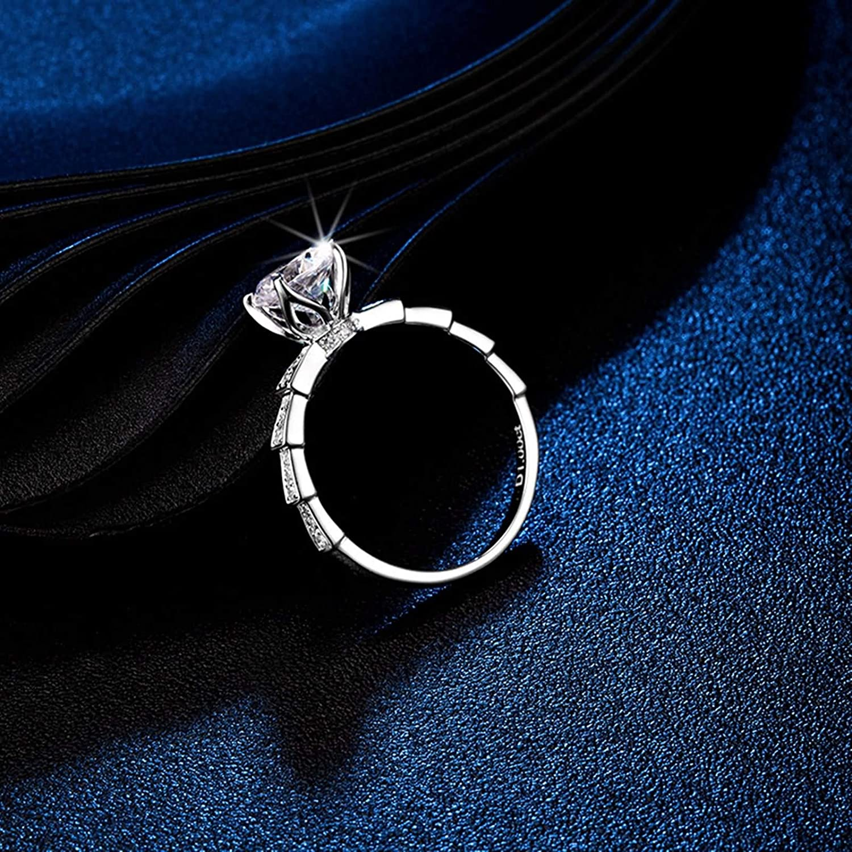 Gnzoe Women's White Gold Wedding Engagement Ring 4-Prong 1ct Round Cut Moissanite 18k White Gold