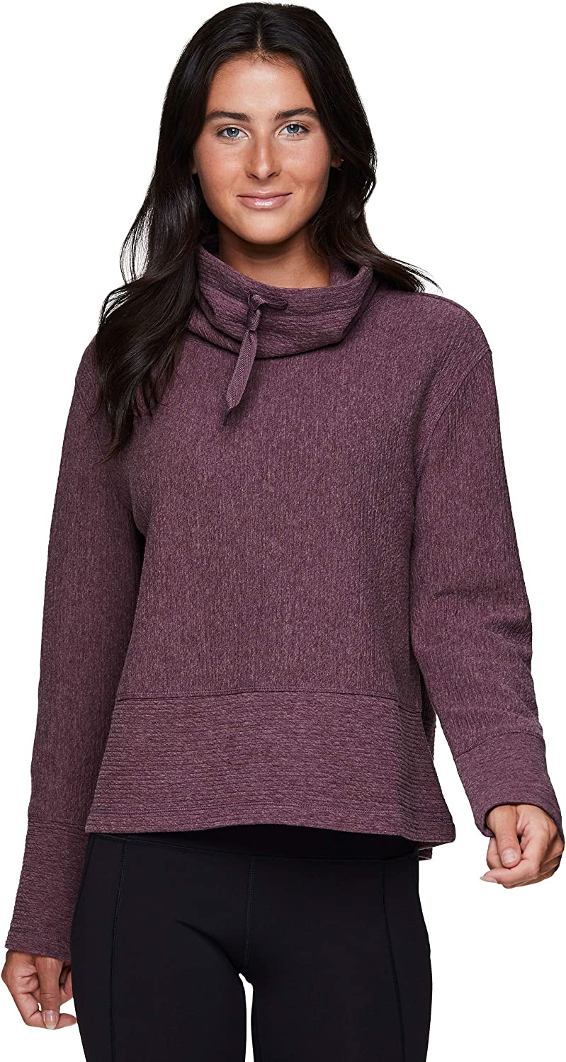 RBX Active quality Fees free!! assurance Women's Ultra Soft Pullover Sweatsh Quilted Cowl Neck