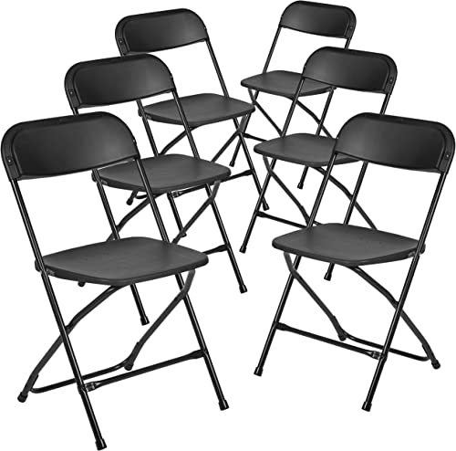 Flash Furniture Hercules Series Plastic Folding Chair - Black - 6 Pack 650LB Weight Capacity Comfortable Event Chair-...