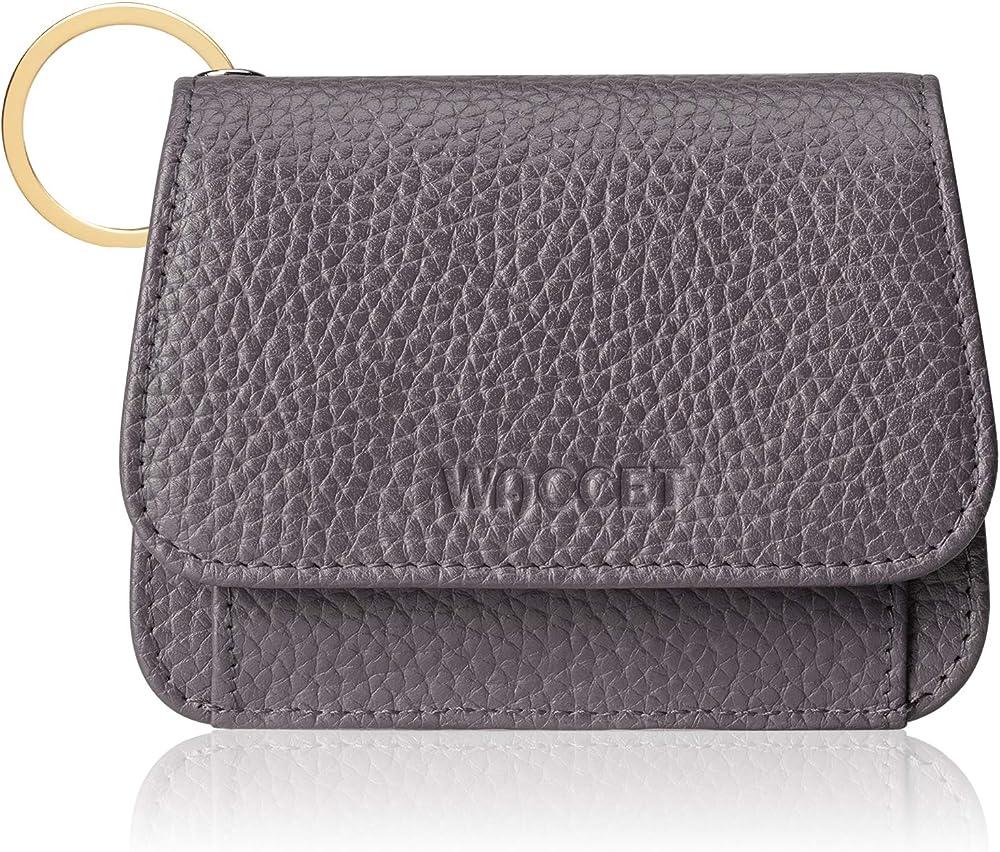 Waccet portafogli porta carte credito donna con 6 slot con protezione anticlonazione in pelle Light Grey