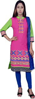 Rama Suit Set of Pink Colour Embroidered Kurta with Blue Legging and Dupatta