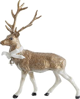 Creative Co-op Plastic Blown Vintage Deer with Bow and Jingle Bell Gold Finish 10-1/4