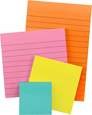 Post-it Super Sticky Notes, Assorted Sizes, 4 Pads, 2x the Sticking Power, Miami Collection, Neon Colors (Orange, Pink, Blue,