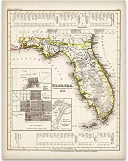 1845 Map of Florida Art Print – 11×14 Unframed Art Print – Great Vintage..