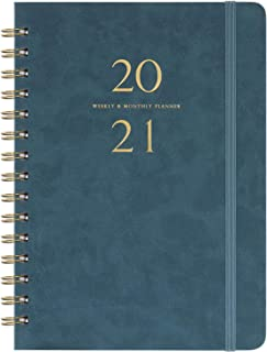 "2021 Planner - Weekly & Monthly Planner with Monthly Tabs, 6.3"" x 8.4"", Smooth Faux Leather & Flexible Cover with White Pa..."
