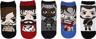 The Walking Dead Socks (5 Pair) - (1 Size) Daryl Dixon, Rick Grimes, King Ezekiel, Walker, Negan - TWD Low Cut Socks