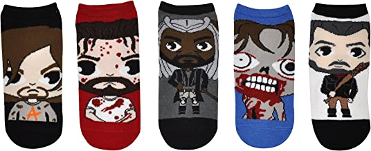 The Walking Dead Socks (5 Pair) - (1 Size) Daryl Dixon, Rick Grimes, King Ezekiel, Walker, Negan - TWD Low Cut Socks
