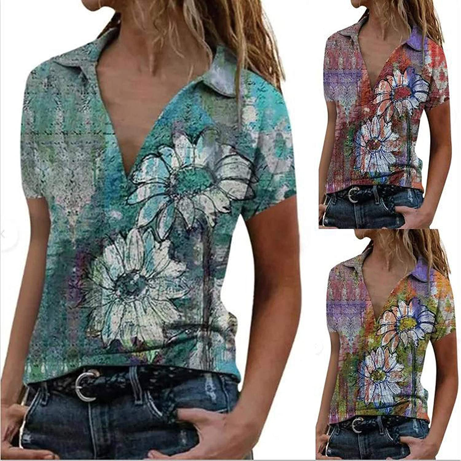Women's Lapel Tops Geometric Patterns Printing Short Sleeve Shirts Loose Fit Popular Pullover