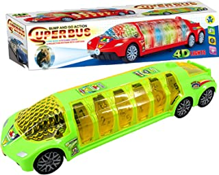 ILOFUN Super Bus Toy Vehicles with 4D Flashing Lights ,Sounds ,Cartoon Projection ,and Open-able Doors Car Toys (Green/Red)