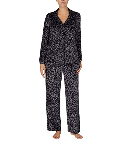 Donna Karan Stretch Velour Sleepwear Pajama Set (Charcoal Animal) Women