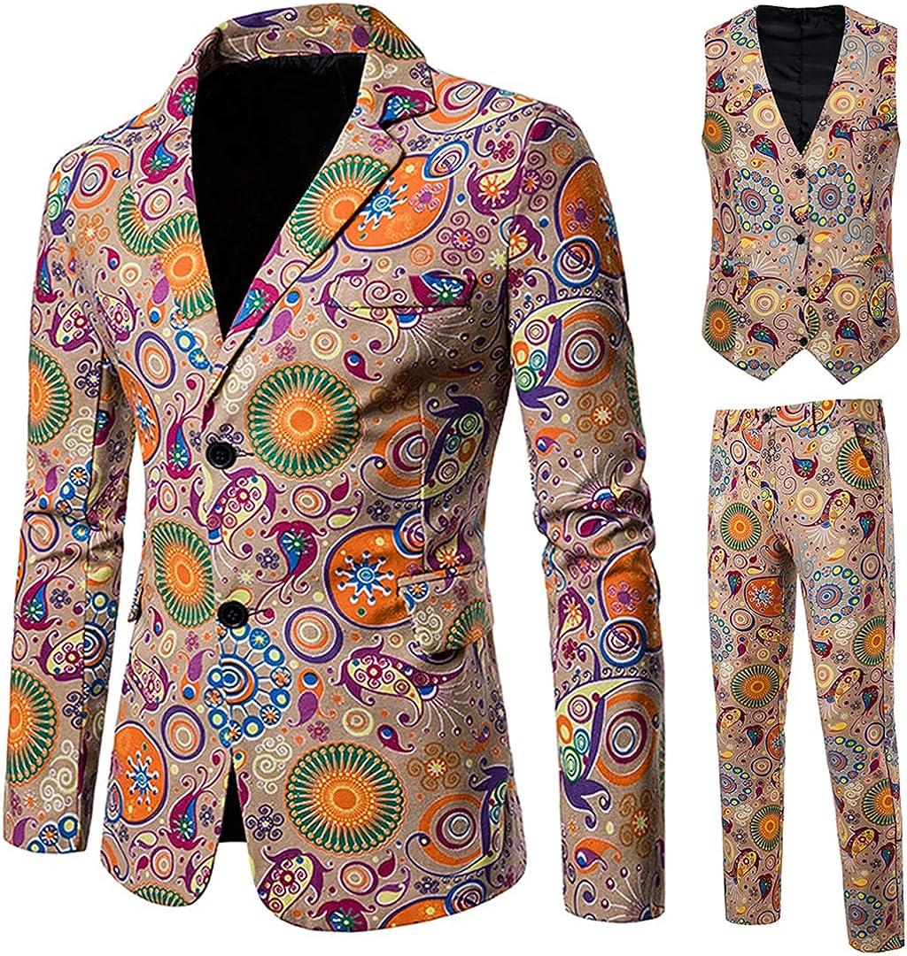 Men's Slim Fit 3 Piece Tuxedo Suit for Daily Business Long Sleeve Blazer Jacket Vest Pants Set
