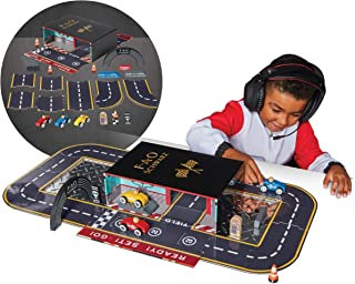 FAO Schwarz Vintage Wood Race Track Play Set, Custom Raceway with Wooden Racers and Accessories, Includes Built-In Carry Case Speedway Garage, 28 Fun Pieces, Classic Toy for Boys and Girls Ages 3+
