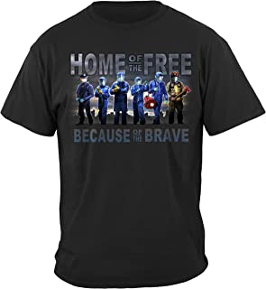 Erazor Bits Home of The Free Medical Services Back The Blue Law Enforce T-Shirt FF2487