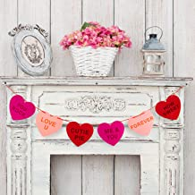 Whaline Felt Heart Garland Banner for Conversation Valentine's Day Decoration, Indoor Outdoor Wedding Engagement Anniversary Party Favor