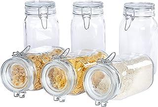 Bormioli Fido Gläser mit Bügelverschluss 6 teilig   Füllmenge 1,5 L   Luftdichte Konservierung durch den Gummiring sowie den Drahtbügelverschluss