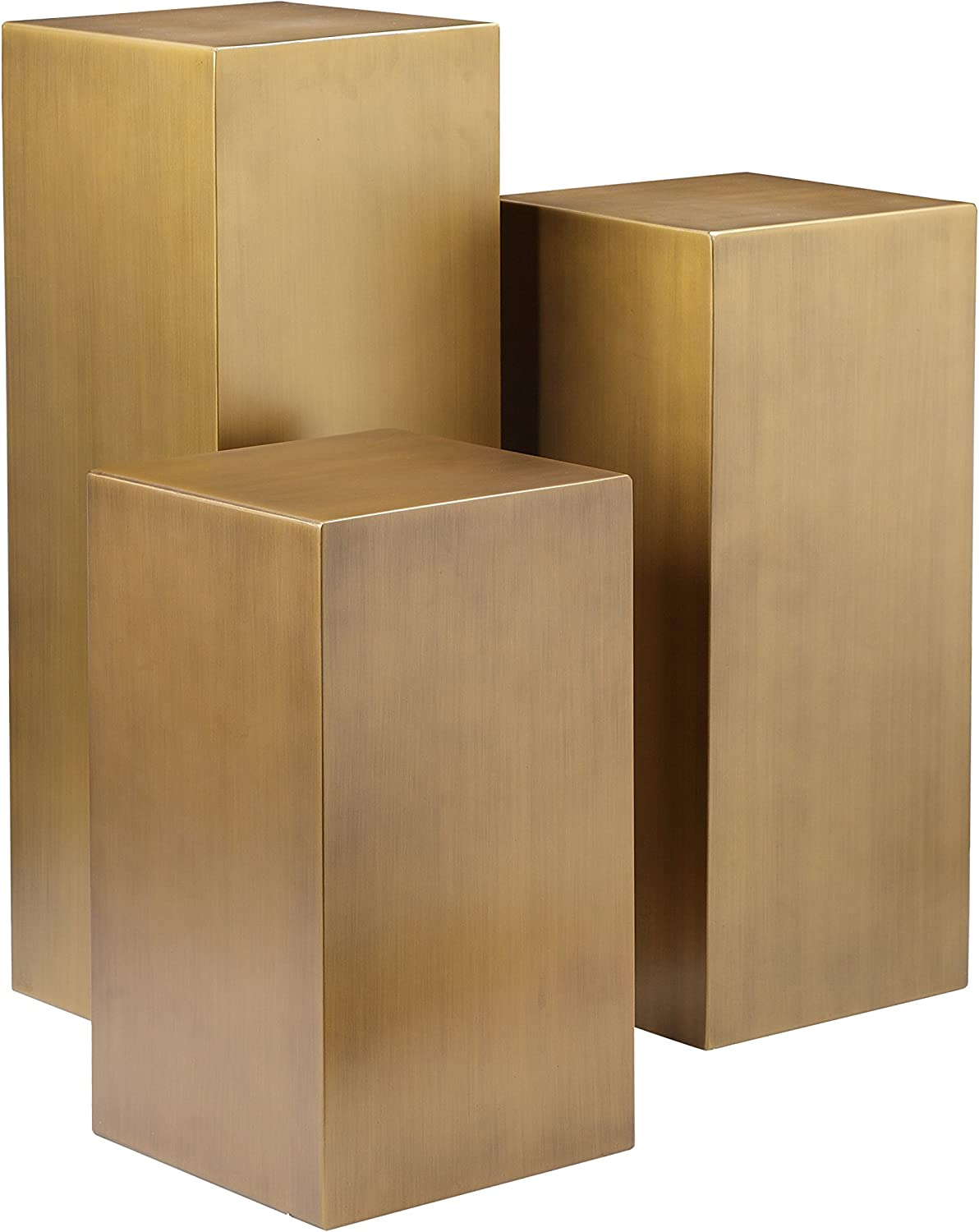 ApexStore Cube 3 - Piece Set Brushed Brass Free shipping New Pedestal Ranking TOP18 Table