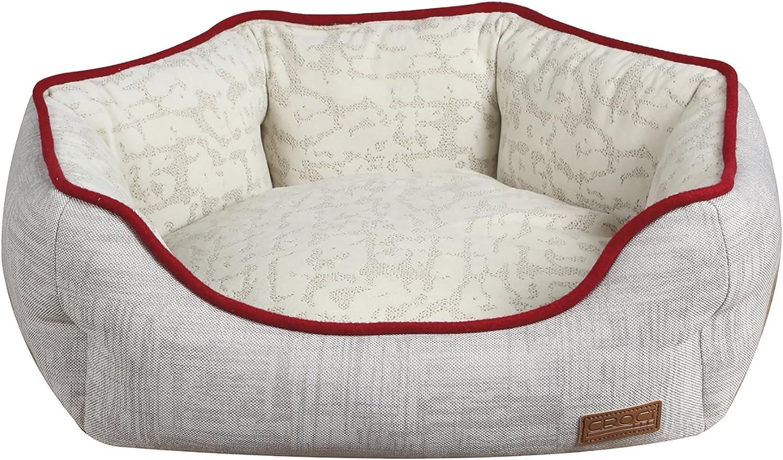 CROCI Oval Pet Bed, 75 x 60 x 20 cm, Cozy Beige