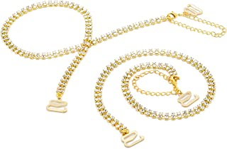 Rhinestone removable Gold Crystal Bra Straps