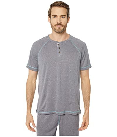Tommy Bahama Poly Wicking Double Knit Henley (Heather Grey) Men