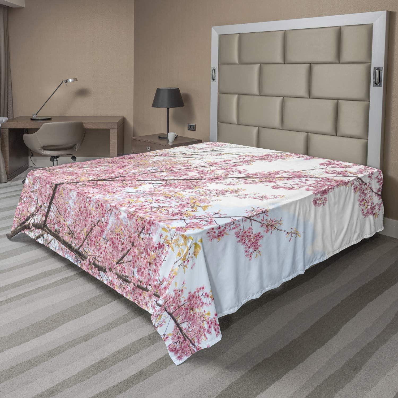 Lunarable Cherry Blossom Flat Sheet Max 85% OFF Spring Max 69% OFF Japanese Romantic Sa