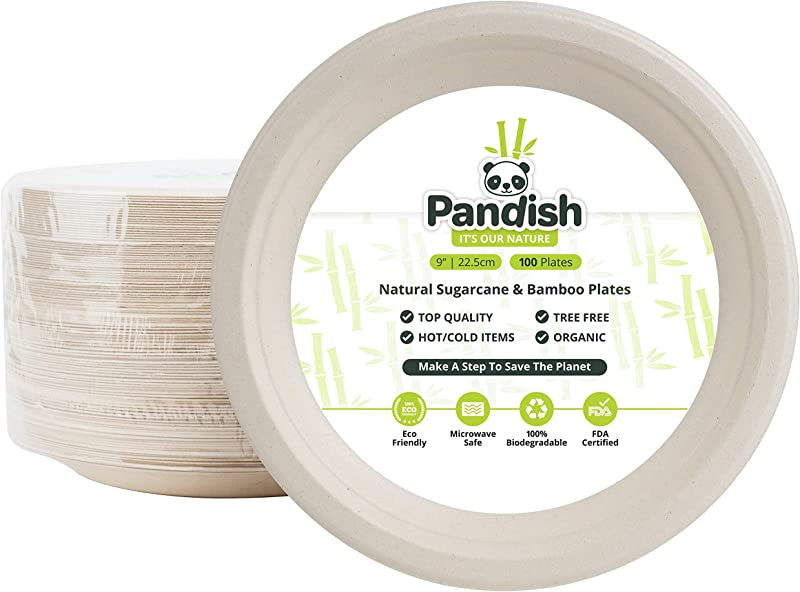 Compostable Biodegradable 9 Inch Plates 100 Pk Byproduct Of Organic Bamboo And Sugarcane 100 Eco Friendly Alternative To Disposable Plastic Paper Plates FDA Approved Pandish
