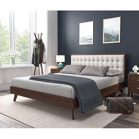 DG Casa Soloman Mid Century Modern Tufted Upholstered Platform Bed Frame, Queen Size in Beige Fabric