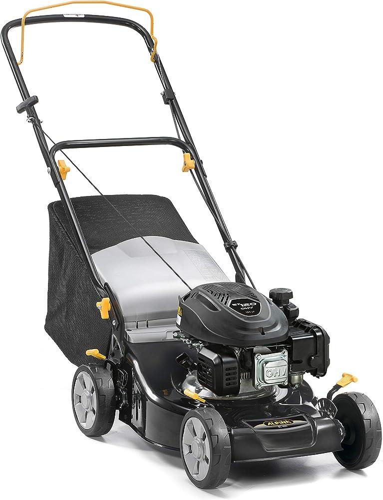 Alpina 295441044/A19 Cortacesped Gasolina BL 410, 123 CC, Negro, Ancho de Corte 41 cm, Capacidad de Bolsa 55 L
