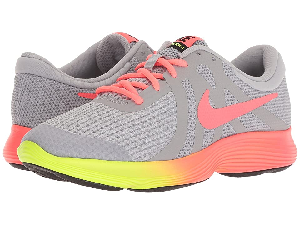 Nike Kids Revolution 4 Fade (Big Kid) (Wolf Grey/Hot Punch/Volt/Black) Girls Shoes